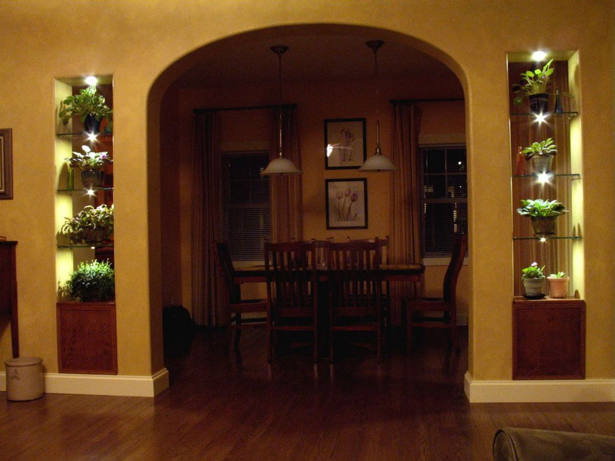 Lighted Glass Shelves Surround Archway Using Led S Diy