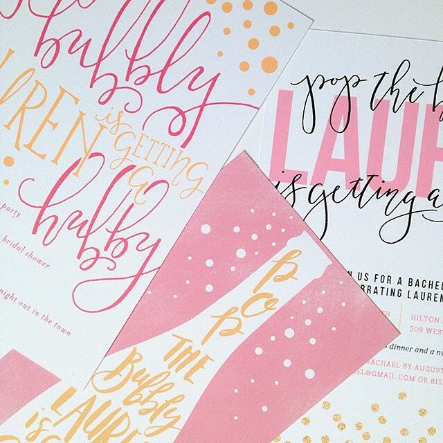 Pop the Bubbly Bachelorette Party Handlettering Erin German