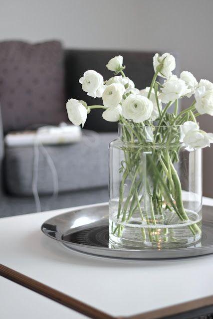 White Ranunculus Clear Modern Vase Wedding Flower