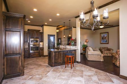 Open Concept Kitchen Dining And Living Room In This New Home Norman Oklahoma