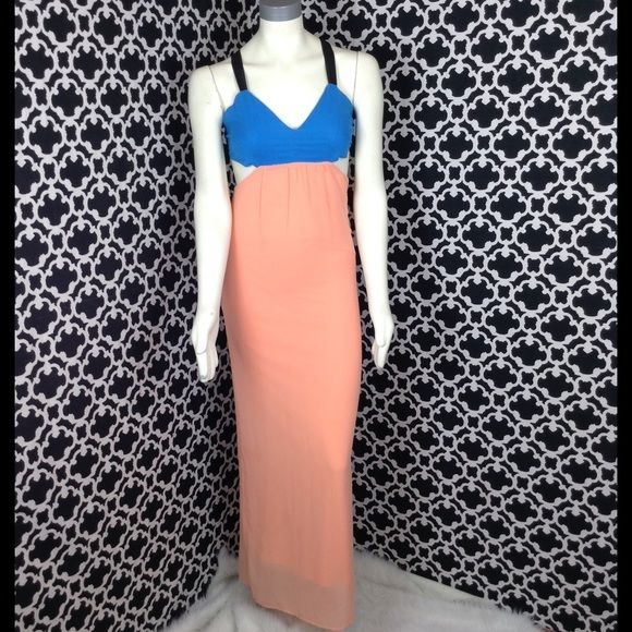 "LISTING Blue and Peach Maxi Dress This maxi dress has two sides cut outs, straps crisscross in back with zipper. Perfect for hot summer nights out on the town. Pair with cute wedges. Measures 15.5"" PTP. 100% poly. Honey Punch Dresses"