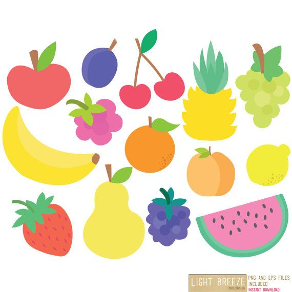 Fruits Clipart Vector Set Instant Download Personal And Commercial Use Fruit Clipart Fruit Party Clip Art