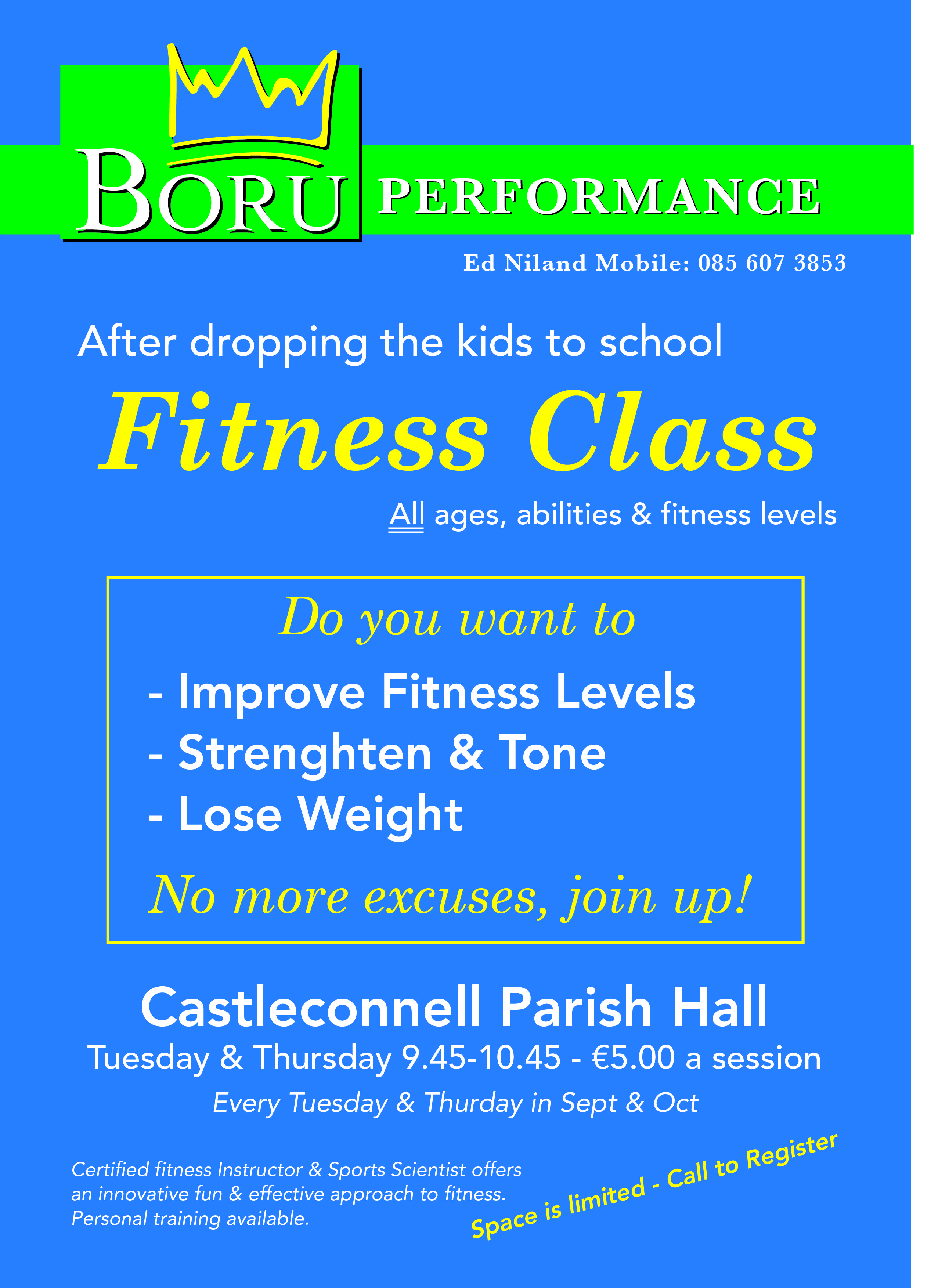 New Series Of Fitness Classes In Castleconnell Parish Hall In Sept