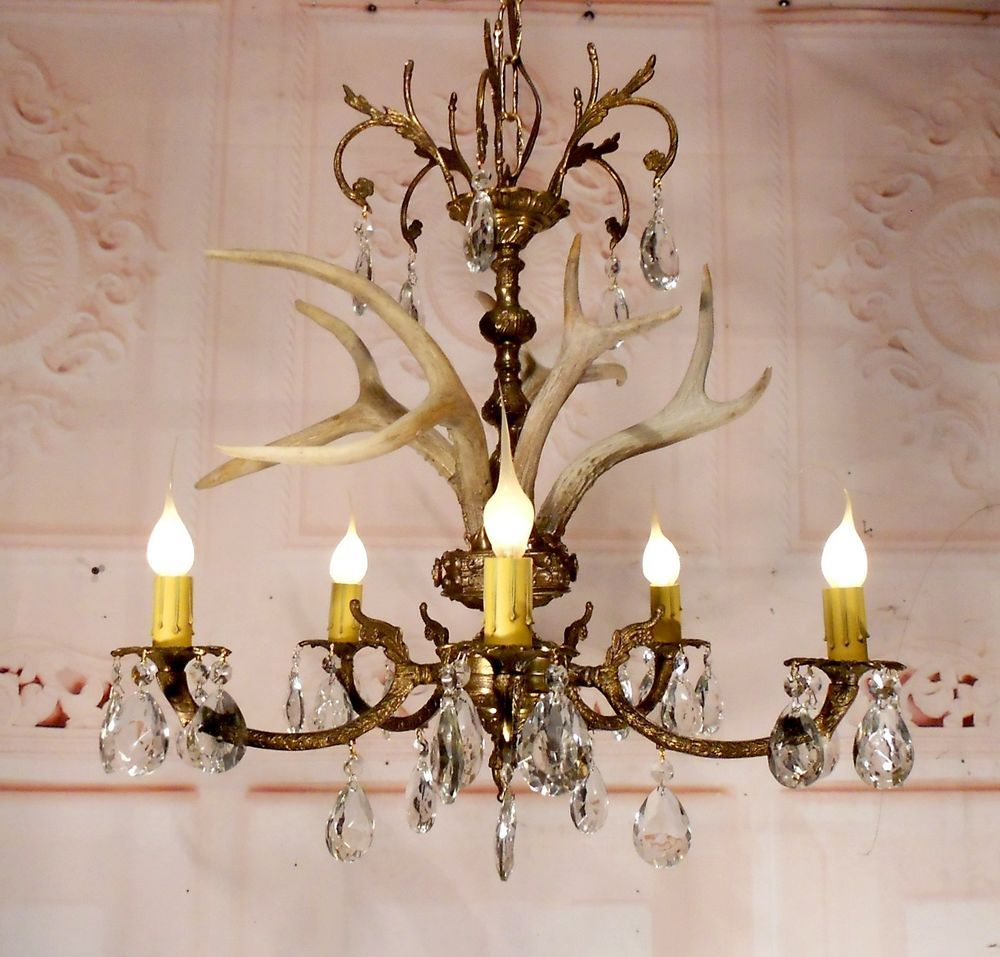 Buck antler chandelier ceiling light fixture lamp with crystals in buck antler chandelier ceiling light fixture lamp with crystals in chandeliers fixtures sconces arubaitofo Image collections
