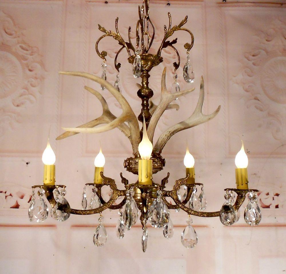 Buck antler chandelier ceiling light fixture lamp with crystals in buck antler chandelier ceiling light fixture lamp with crystals in chandeliers fixtures sconces arubaitofo Gallery