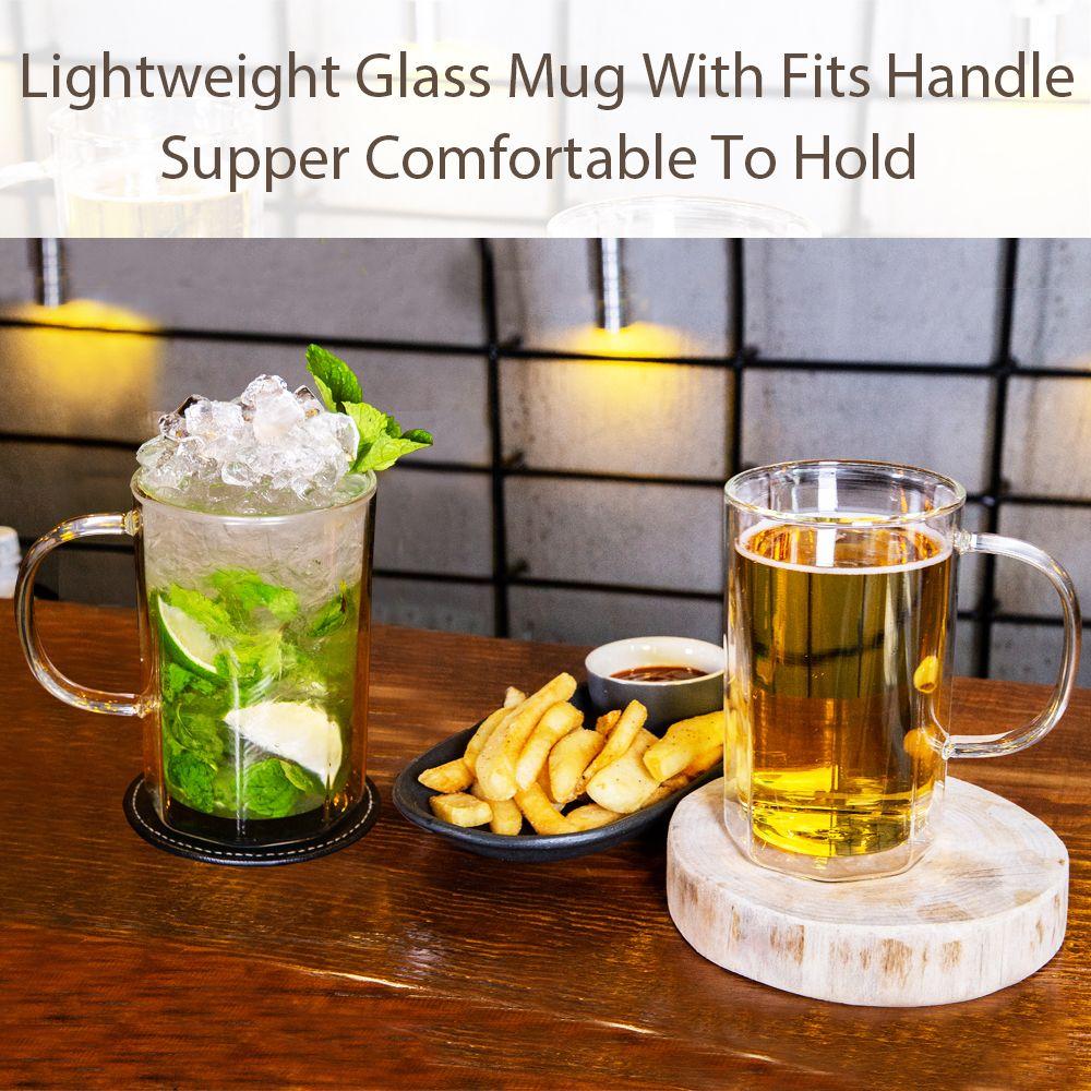 Zens Octagon Glasses Beer Mug Double Wall Glass Beer Mugs With