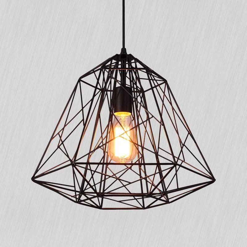 Russia Warehouse Creative Diamond Pendant Lights Black Iron Industrial Lamp Vintage Loft Industrial Pendant Lamps Industrial Pendant Lights Black Pendant Light