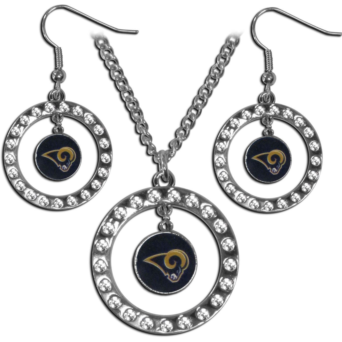 St. Louis Rams Rhinestone Hoop Jewelry Set
