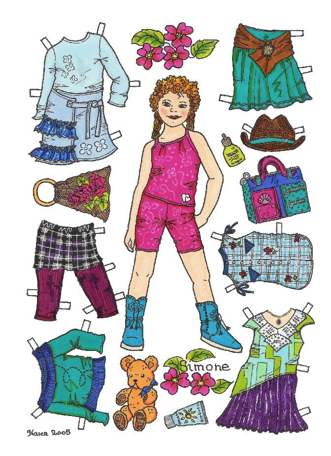 Karen`s Paper Dolls: Simone 1-6 Paper Doll in Colours.Simone 1-6 påklædningsdukke i farver.