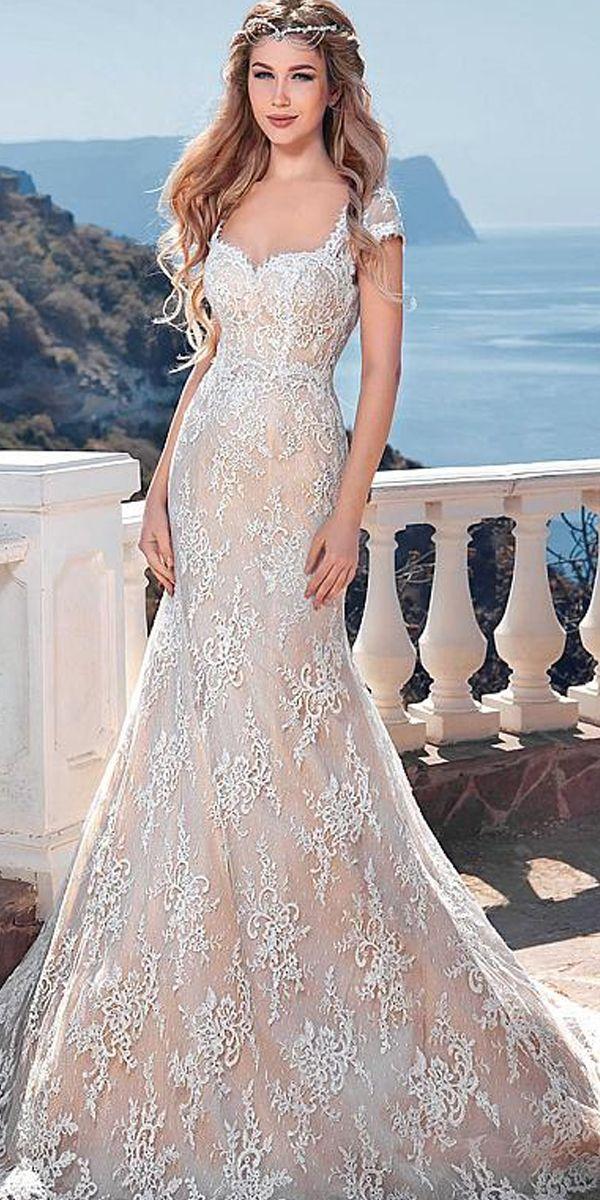 Elegant Lace Queen Anne Neckline Mermaid Wedding Dresses   Weddings ...