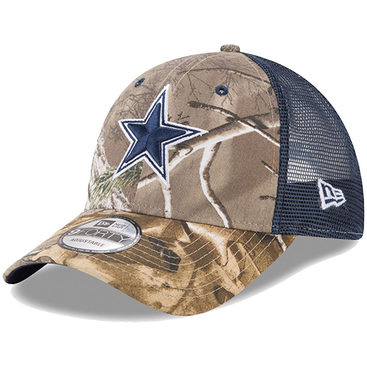 Shop Men s Dallas Cowboys New Era Realtree Camo Navy Trucker 9FORTY  Adjustable Snapback Hat from your favorite team at the official online  retailer of the ... 224251c06