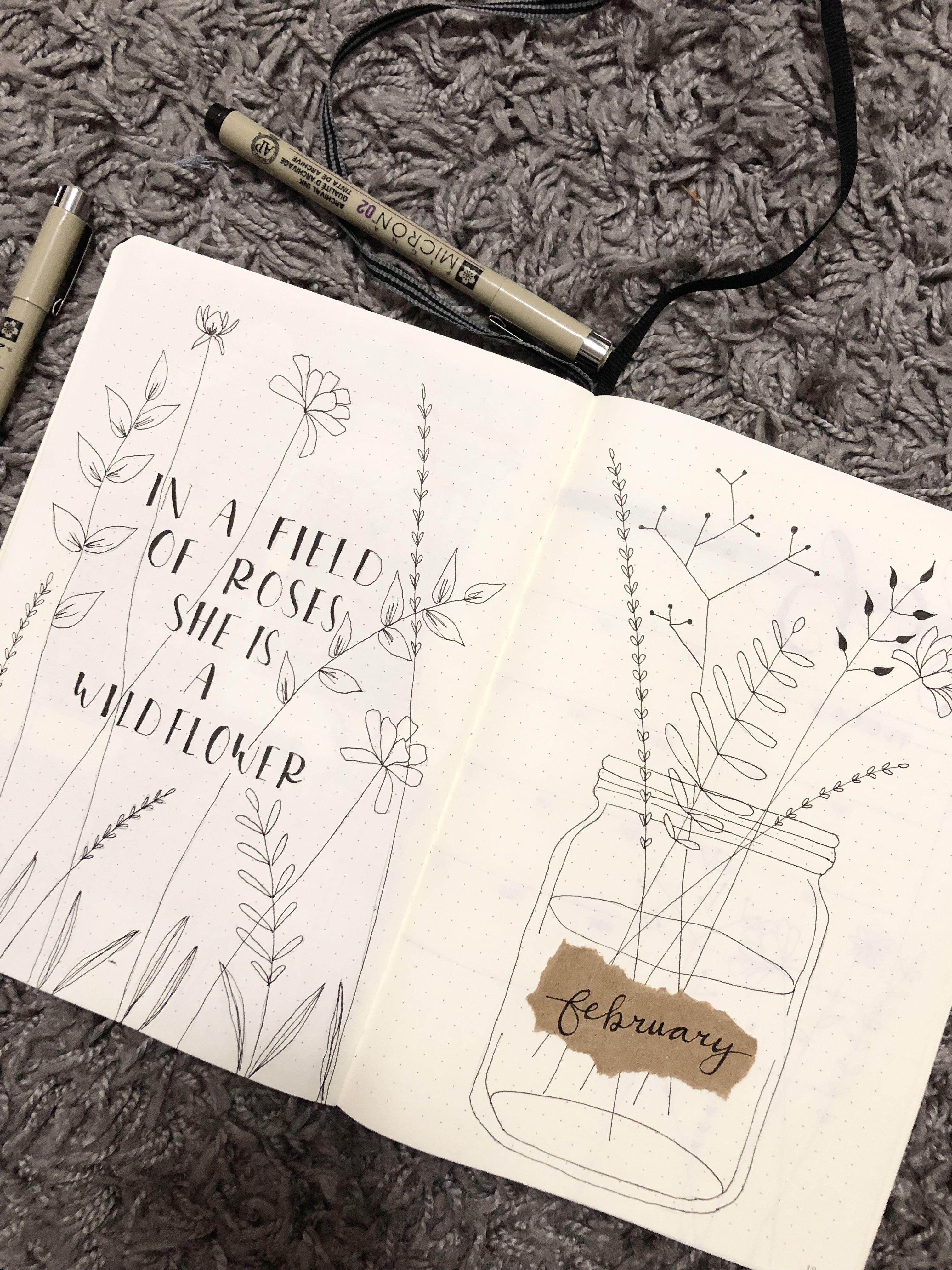 February Wildflower bullet journal theme #bulletjournal