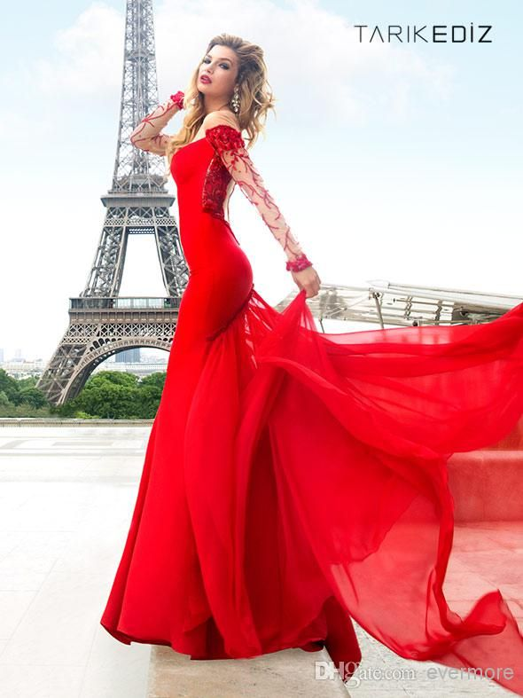 3d09d85ce6d Tarik Ediz Red Prom Dresses 2014 Long Sleeve Beaded Sheer Crew ...