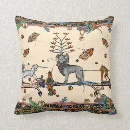Weird medieval bestiary,apocaliyptic beast,unicorn throw pillow