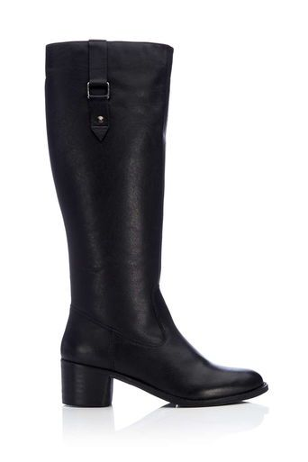 Black High Leg Leather Boot With Buckle