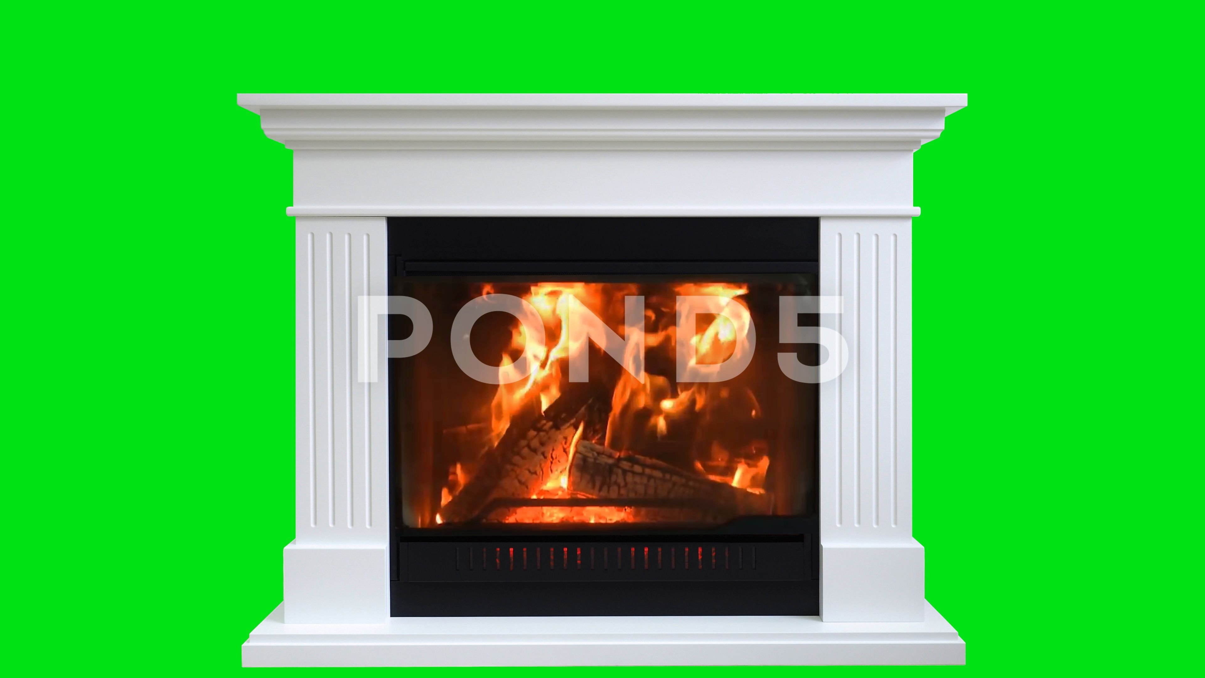 Burning Wood In Fireplace Isolated On Green Screen Stock Footage