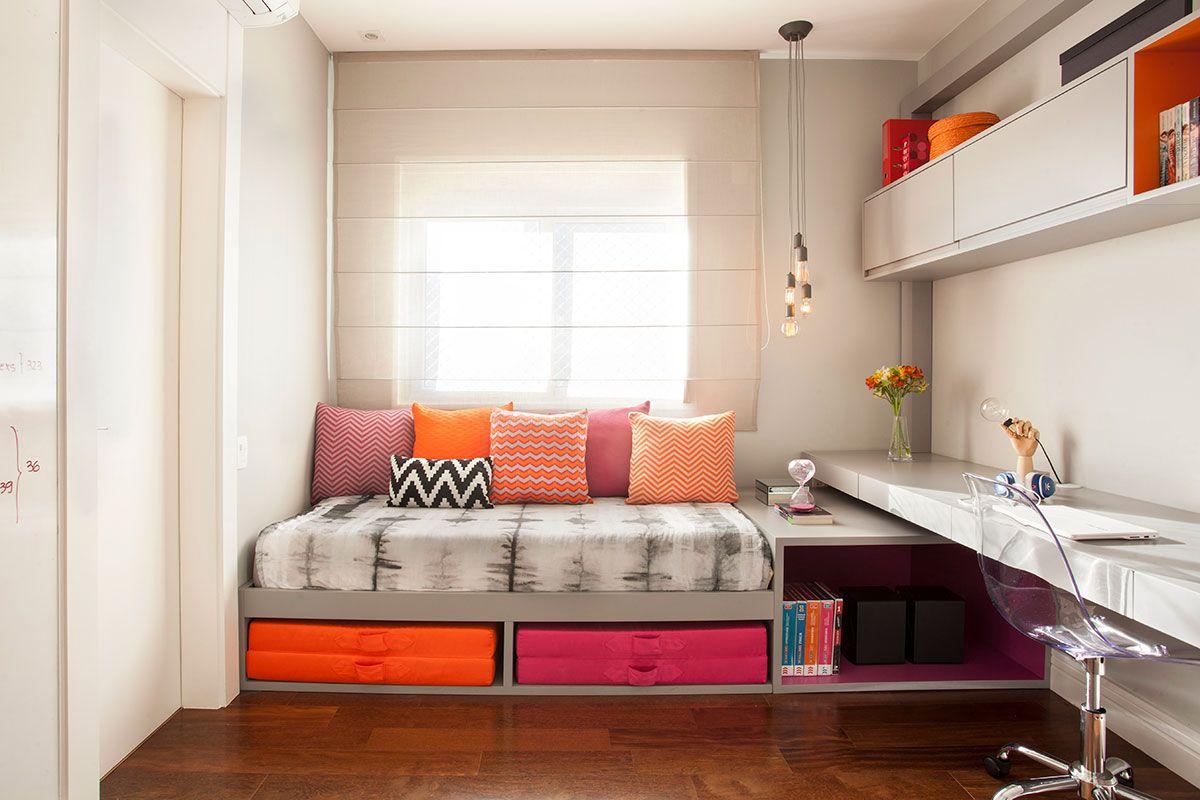 Apartamento Viradouro 2016 Rosas Laranja Decora O De  ~ Home Office No Quarto De Solteiro