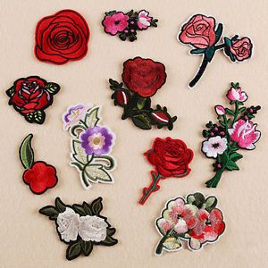 Rose Flower Embroidery Sew Iron On Patches Badge Jeans Dress Applique Craft DIY
