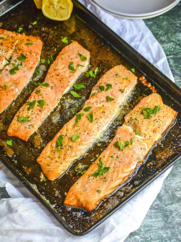 Oven Baked Buttery Lemon Pepper Salmon | Recipe | Baked salmon ...