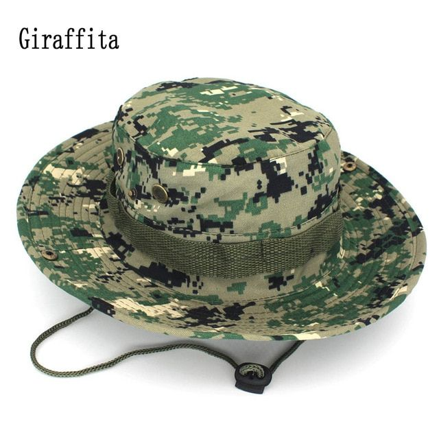 ddcfc8b448e Giraffita Camouflage Bucket Hats Wide Brim Sun Cap Fishing Hunting Hiking  Men Safari Summer Jungle With String Hat Outdoor Review