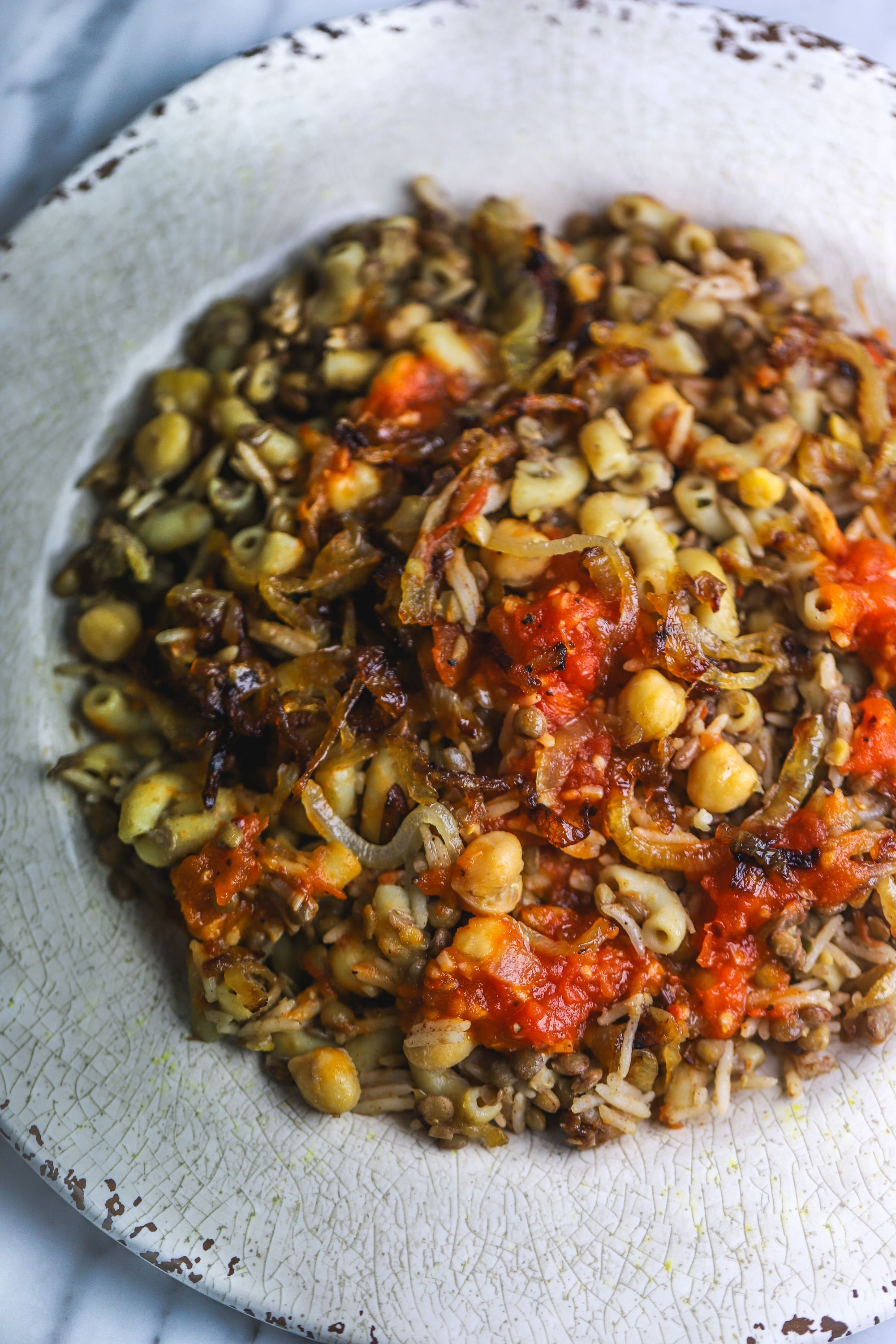 Koshari – Egyptian Pasta, Lentil, and Rice Dish