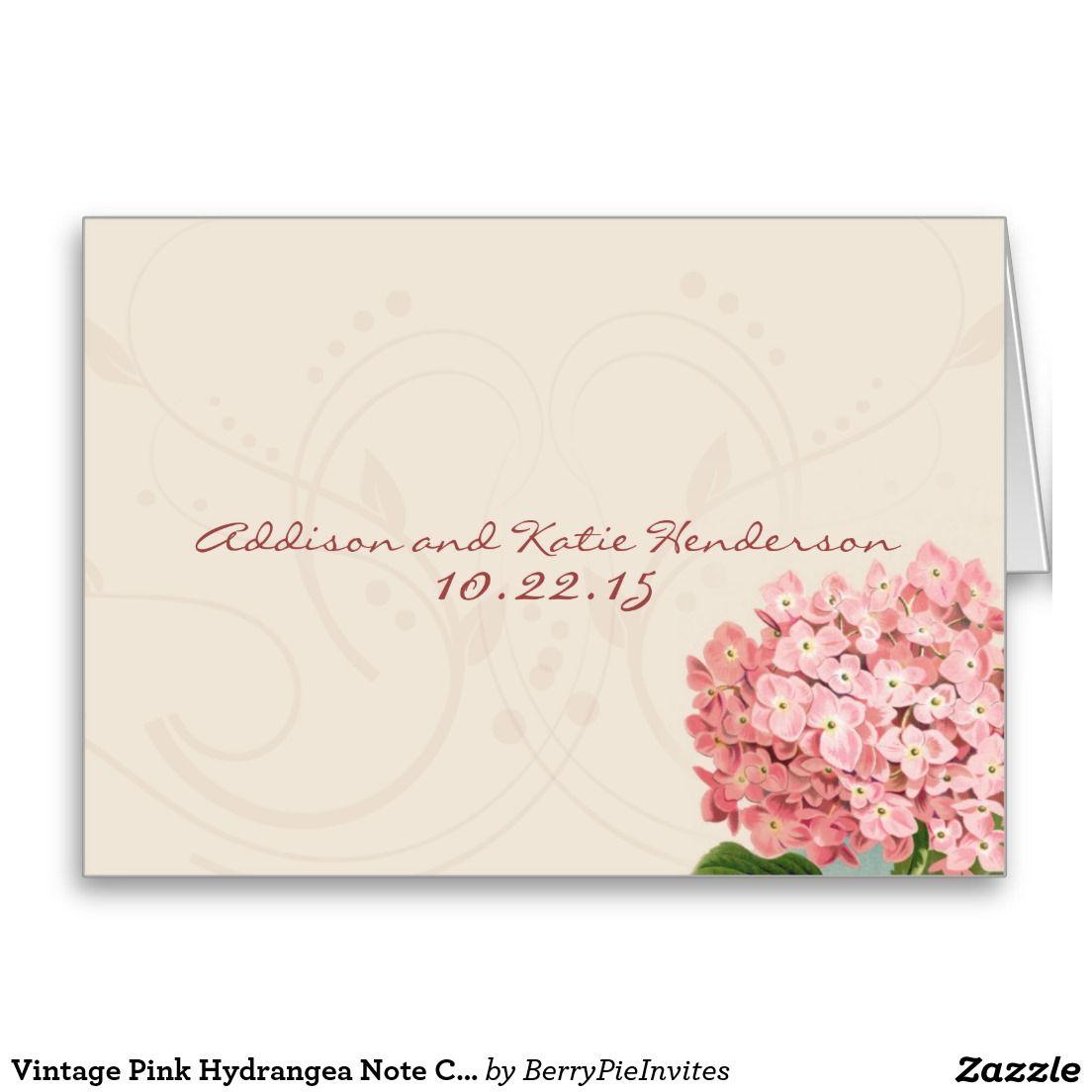 Vintage Pink Hydrangea Note Cards Template  Vintage Pink Card