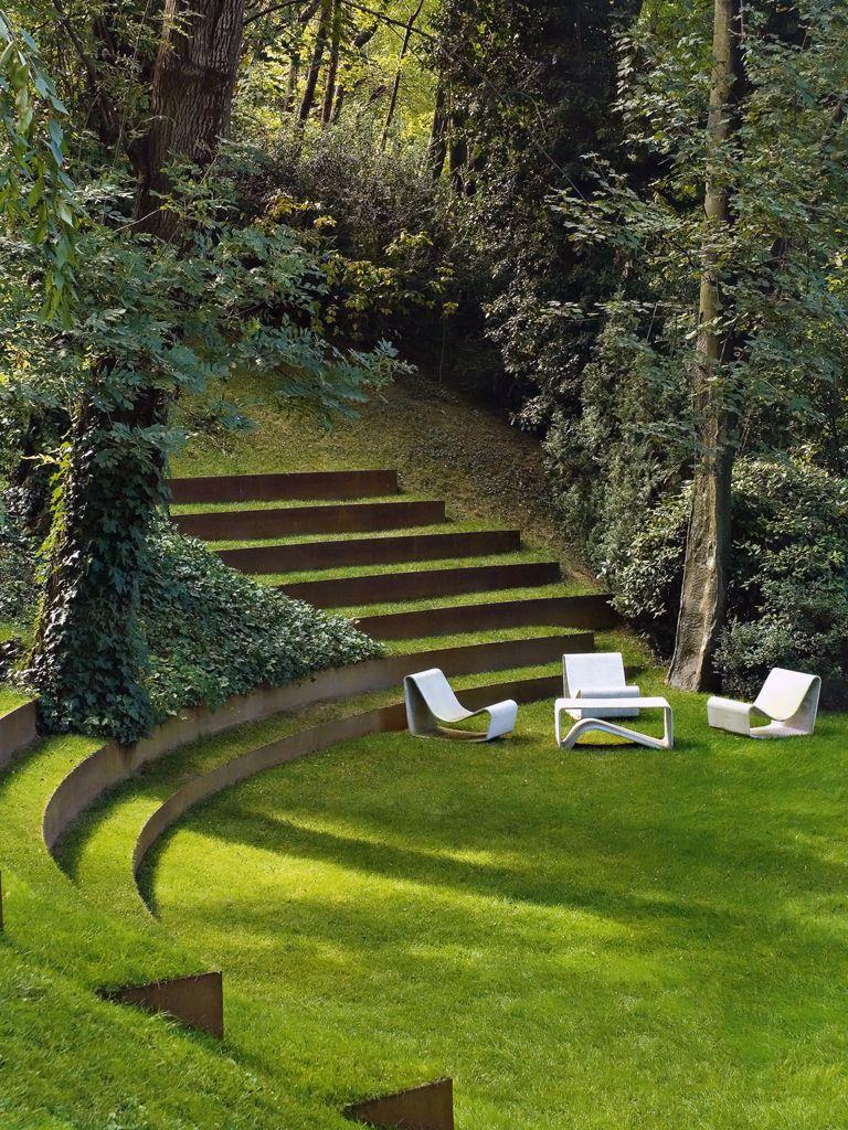 Natural sunken outdoor conversation pit.