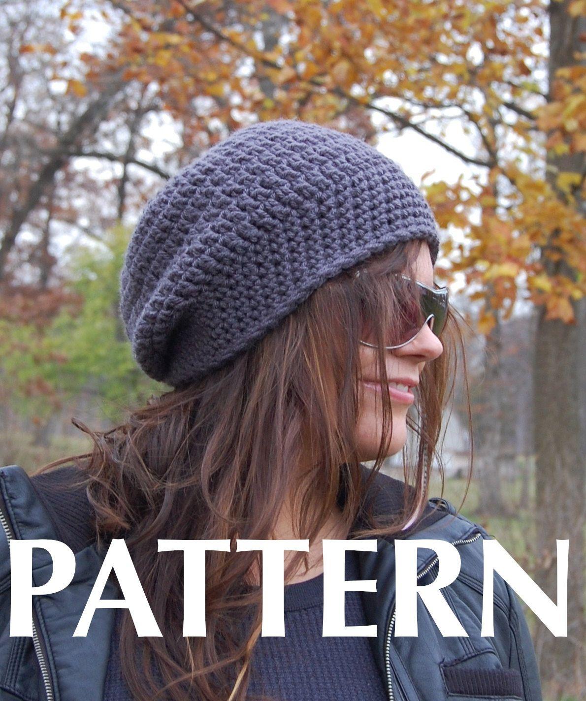 Adult Hat Pattern, Crochet Slouchy Beanie Hat PATTERN. $5.00, via ...