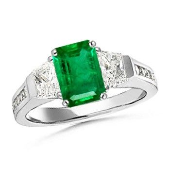 Angara Cathedral Set Natural Emerald Three Stone Engagement Ring in Platinum