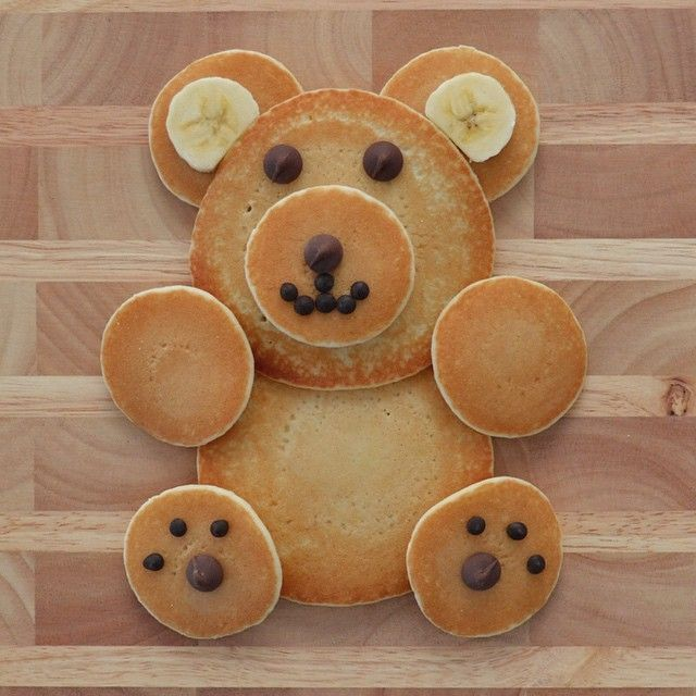 "De Wafelbakkers on Instagram: ""Happy National American Teddy Bear Day! Grab some #DWBpancakes, #bananas, and #chocolatechips to make this cute guy and celebrate!…"" #babyteddybear"