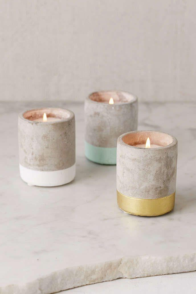 Farbblockierte Kerzenhalter aus Beton - #aus #Beton #concrete #Farbblockierte #Kerzenhalter #candlediy