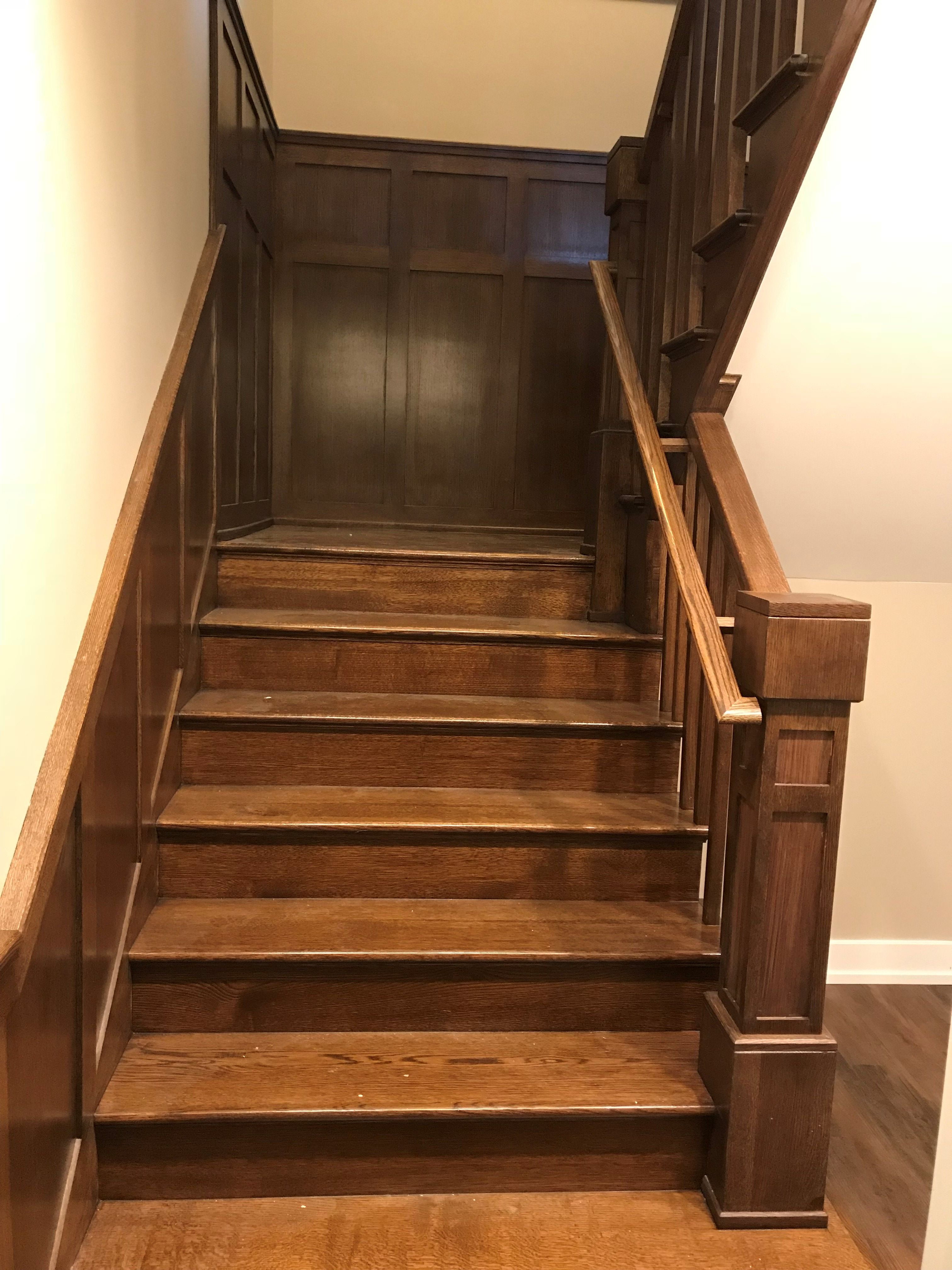 Craftsman Style Staircase With Wood Balusters And Wainscot Panels Basement View Wood Balusters Wainscoting Panels Wainscoting