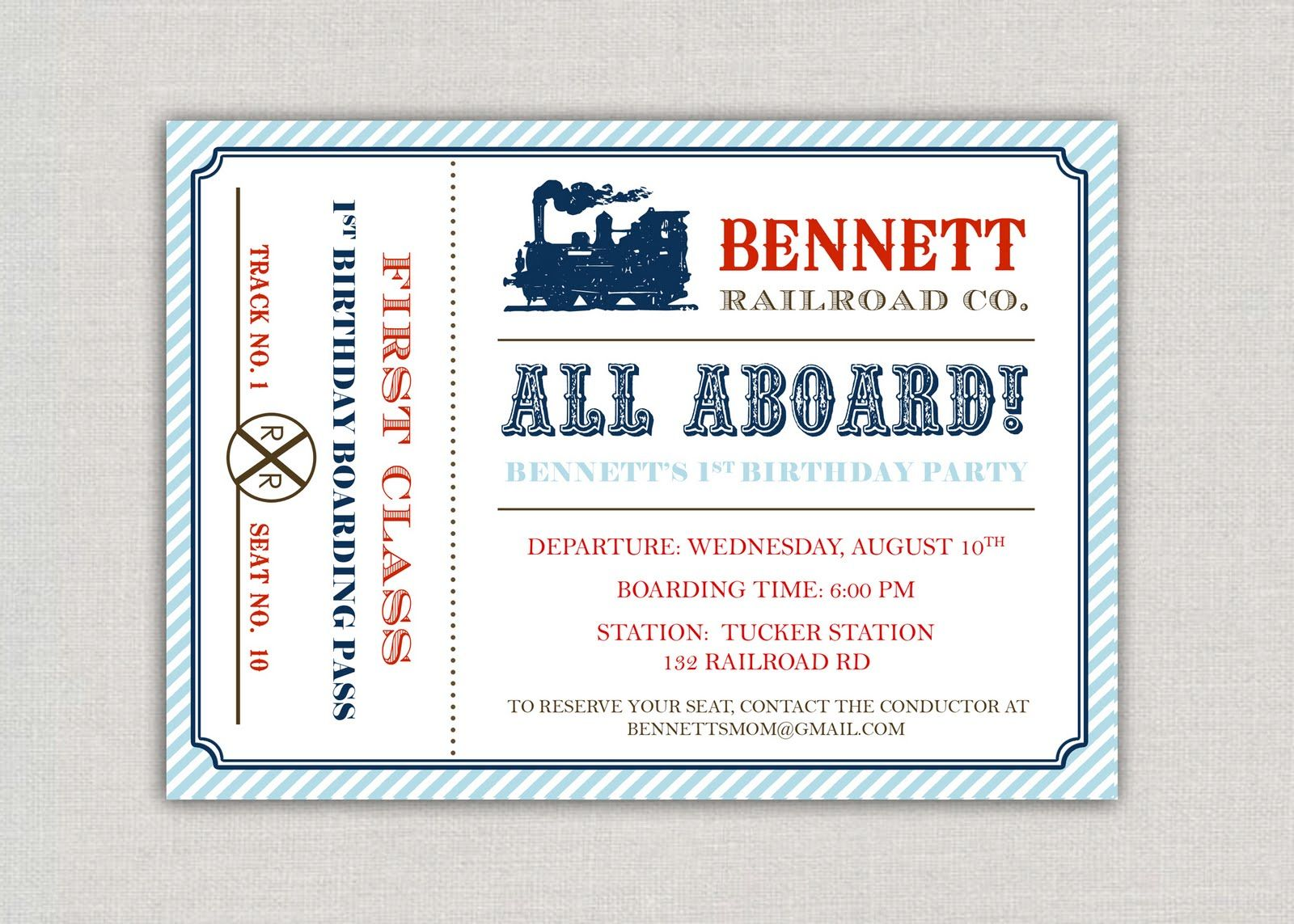 Cute train ticket invite - photo size | eveverything kids | Pinterest