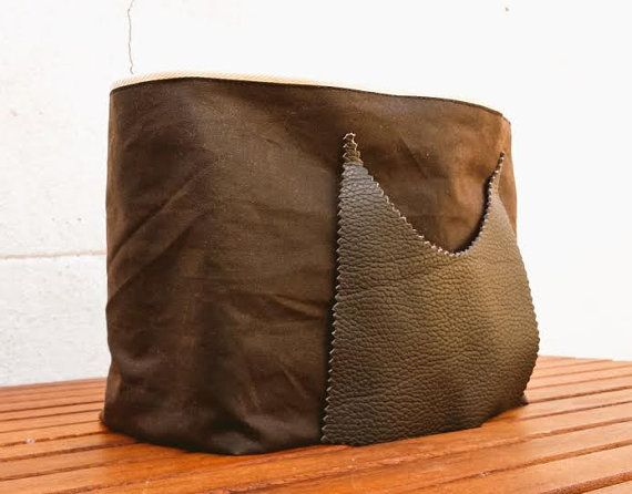 Waxed Canvas Laundry Bag Leather Pocket Waterproof Designer