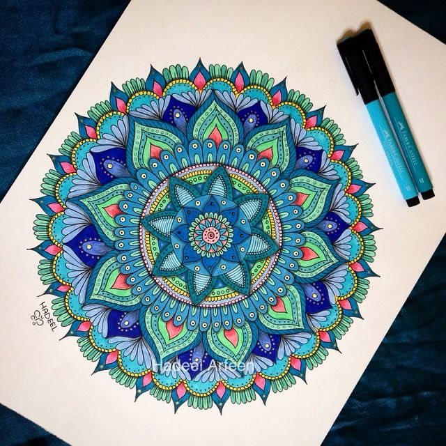 Very Nice Combinations Of Different Colors Reminds Me Of The See And The Moon By Hadeel Abdullsalam Mandala Drawing Mandala Coloring Mandala Painting