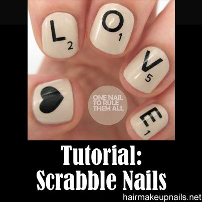 Scrabble Nails Tutorial Nails Pinterest Scrabble Tutorials