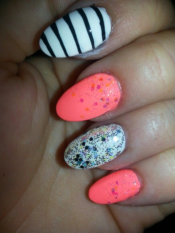#coral #glitter #fade #stripes