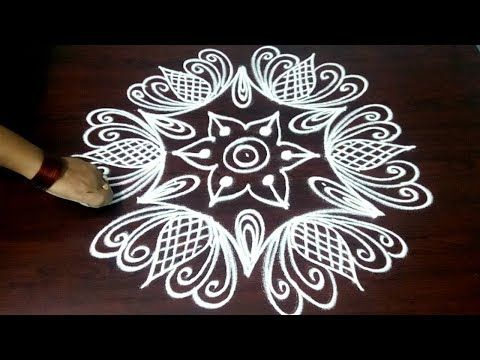 Beautiful Big Rangoli With 7 X 4 Dots New Big Kolam Latest