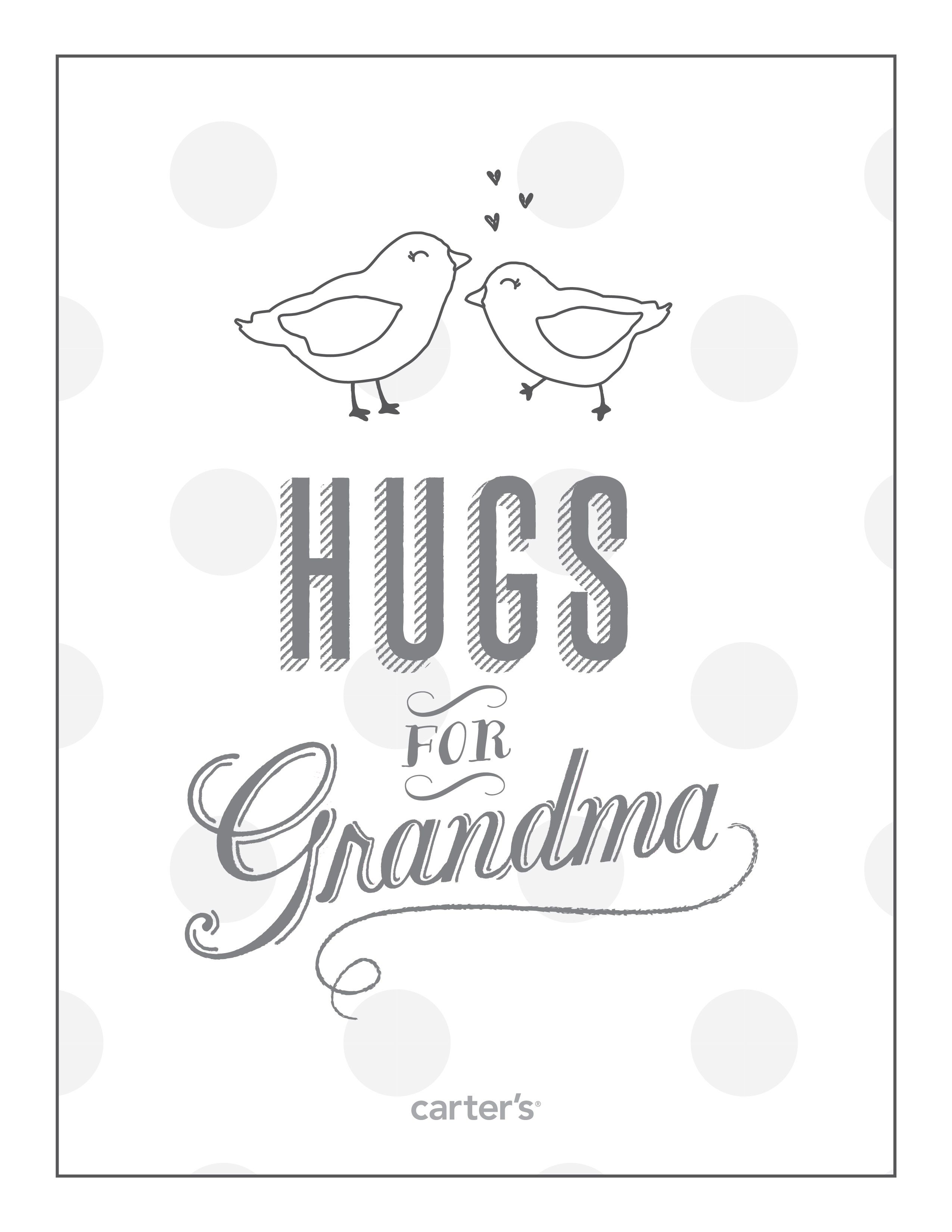 Hugs for Grandma. Download free Grandparent\'s Day coloring pages ...