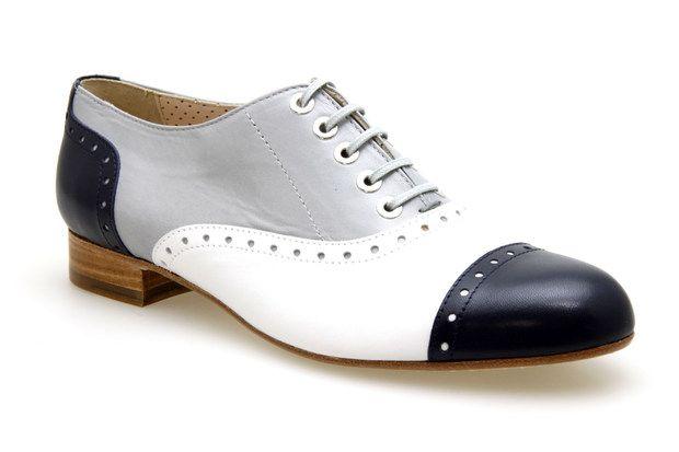 01d60737395c68 Mocassins lacets PERTINI 9050 Marine / Blanc / Gris - Chaussures femme  Chaussures Plates, Derbies