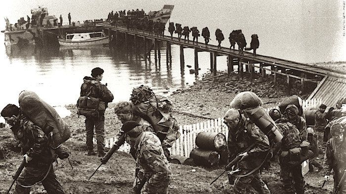British troops arriving in the Falklands during the 1982 conflict.