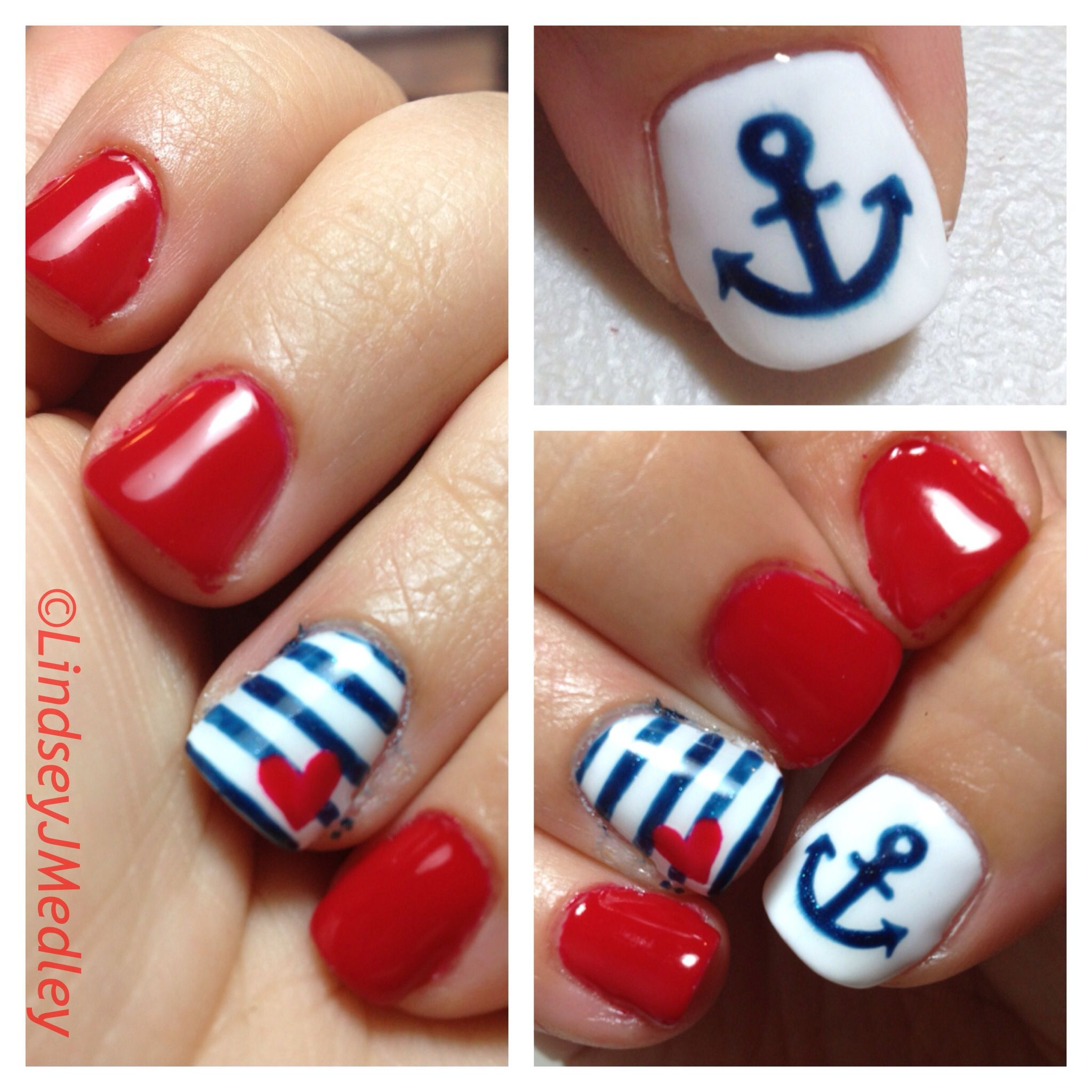 freehand nail art. shellac nautical nailslindsey j medley