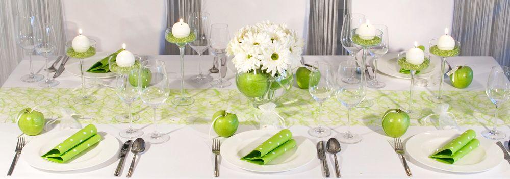 Tischdekoration Gruner Apfel Fur Hochzeitstafeln Meine