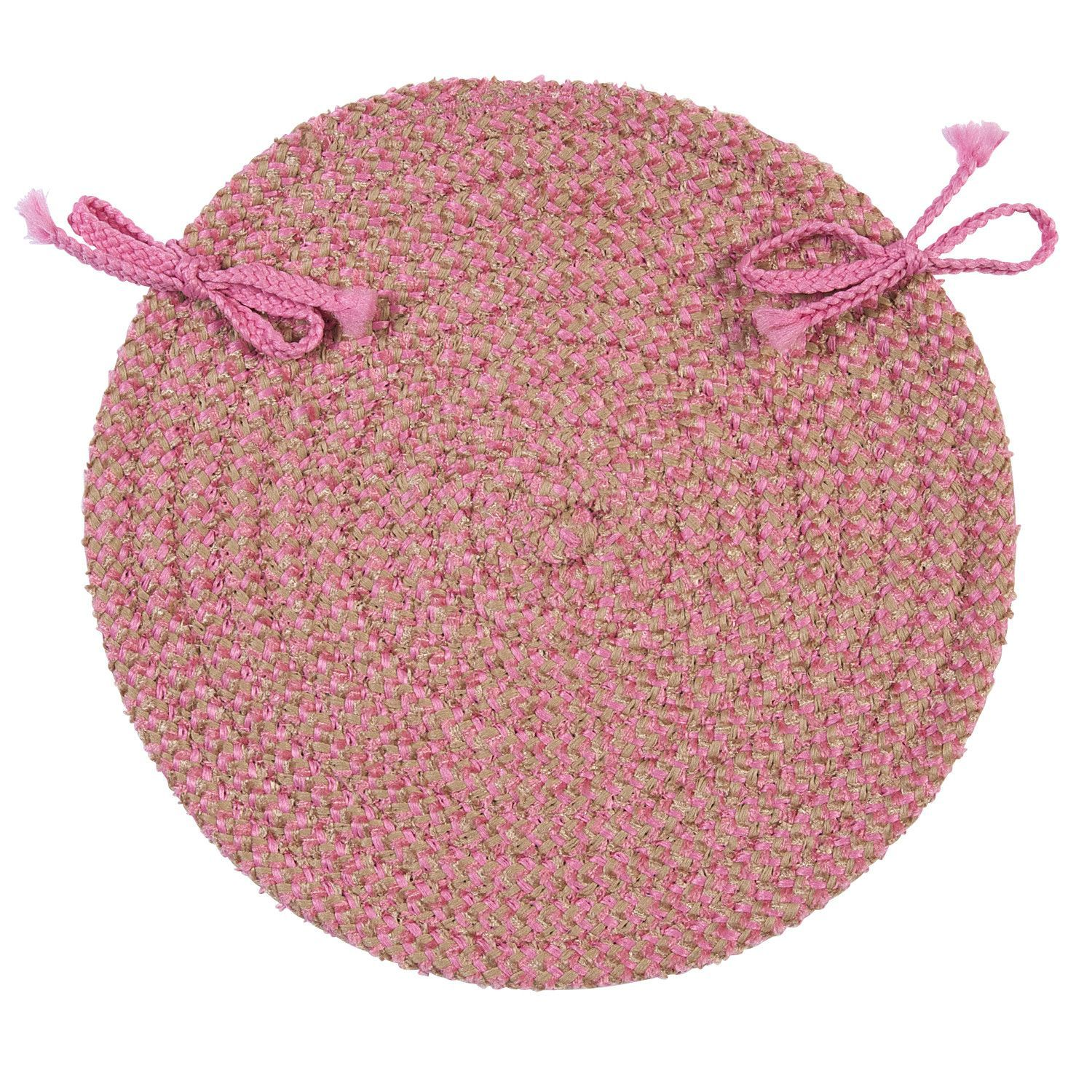 Superior Softex Check Indoor Outdoor Round Braided Chair Pad, Camerum Pink U0026 Tan
