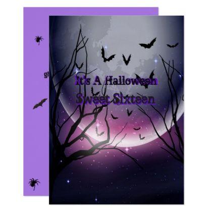 Halloween Spiders Bats Creepy Sweet Sixteen Card - birthday - sweet 16 halloween party ideas