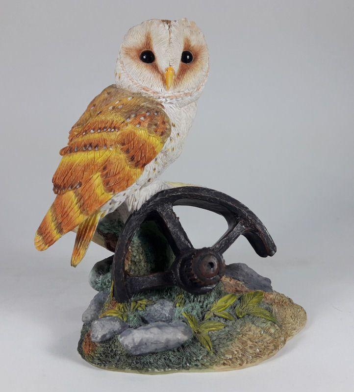 Realistic Orange Barn Owl On Wagon Wheel Resin Bird