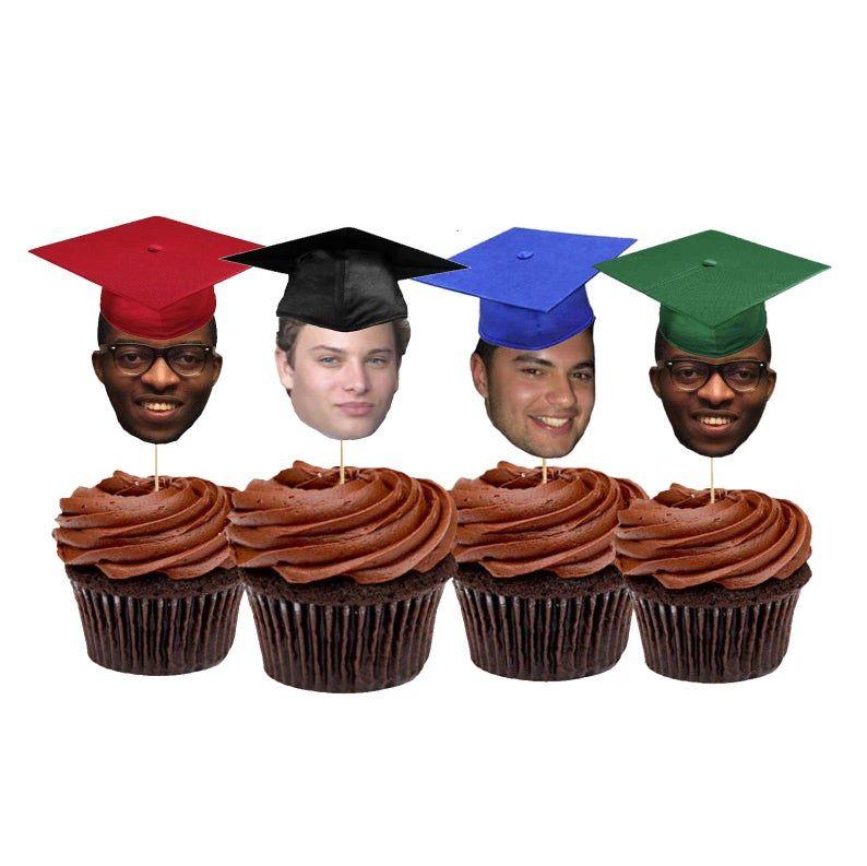 Graduation hat face cupcake toppers graduation party