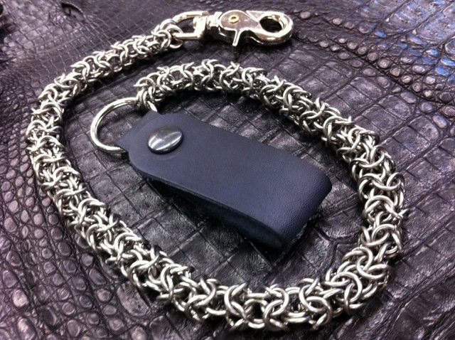 Stainless SteelAnodized Aluminum Wallets Chain Byzantine Chainmaille Wallets Chain Wallets Chain Black Wallets Chain