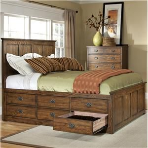 Oak park mission queen bed with twelve underbed storage for Bedroom furniture in zanesville ohio