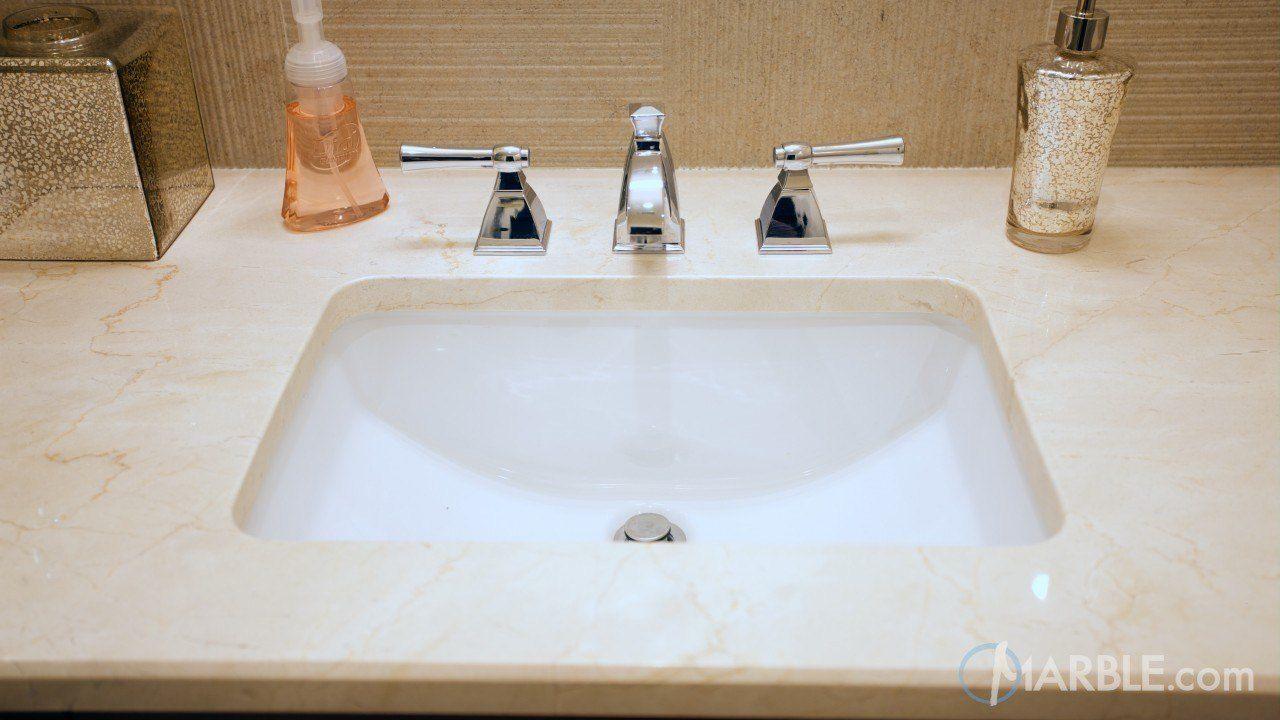 Crema Marfil Marble Countertop In A Classic Bathroom: Crema Marfil Marble